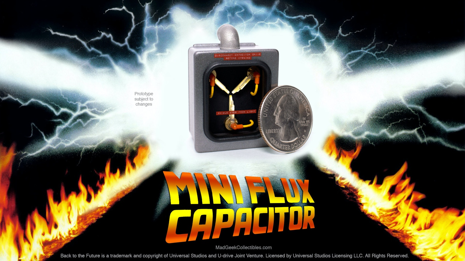 Back to the Future 1/10 scale Flux Capacitor die cast collectible with working lights & optional keychain. Both models in stock now!