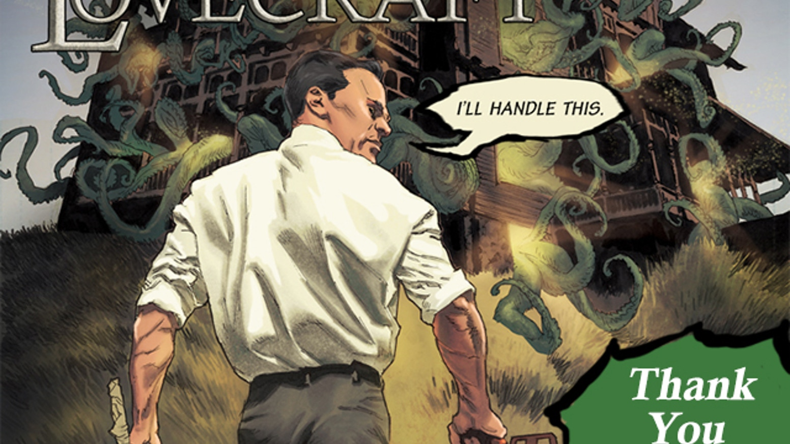 A 64-page limited edition comic that recasts H.P. Lovecraft as a  modern-day, kick-ass action hero & alchemist.
