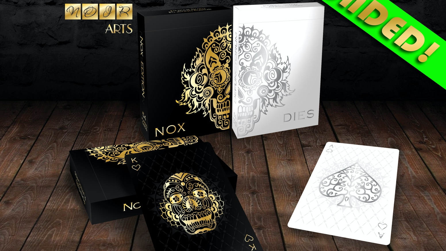 Defunctorum Playing Cards are a custom deck created by NOIR Arts. 54 amazing playing cards printed with golden and silver metallic inks