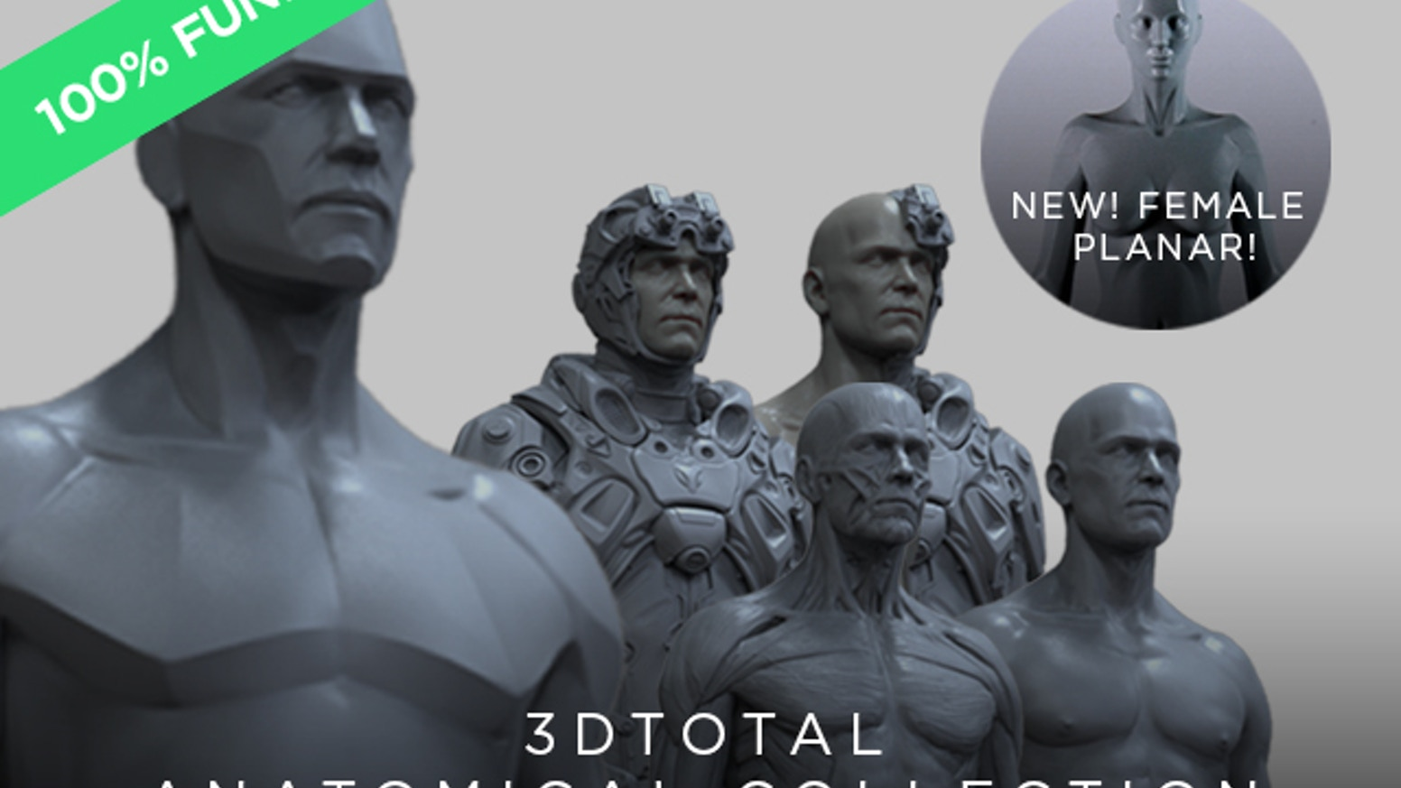 Expanding the 3dtotal anatomical reference figure library with new Male Planar, Full Nude, Full Écorché, and Biosuit versions!