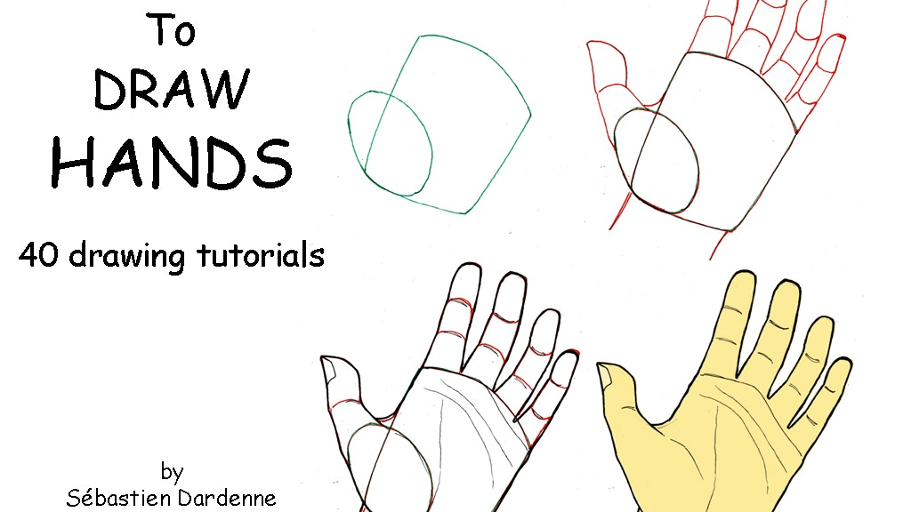 How to draw Hands. 40 drawing tutorials. by Sébastien ...