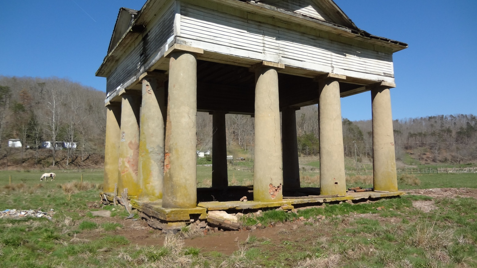 We are working to restore this 1838 Pavilion, believed designed by  Benjamin Latrobe; all that remains of the famous Blue Sulphur Spring Resort.