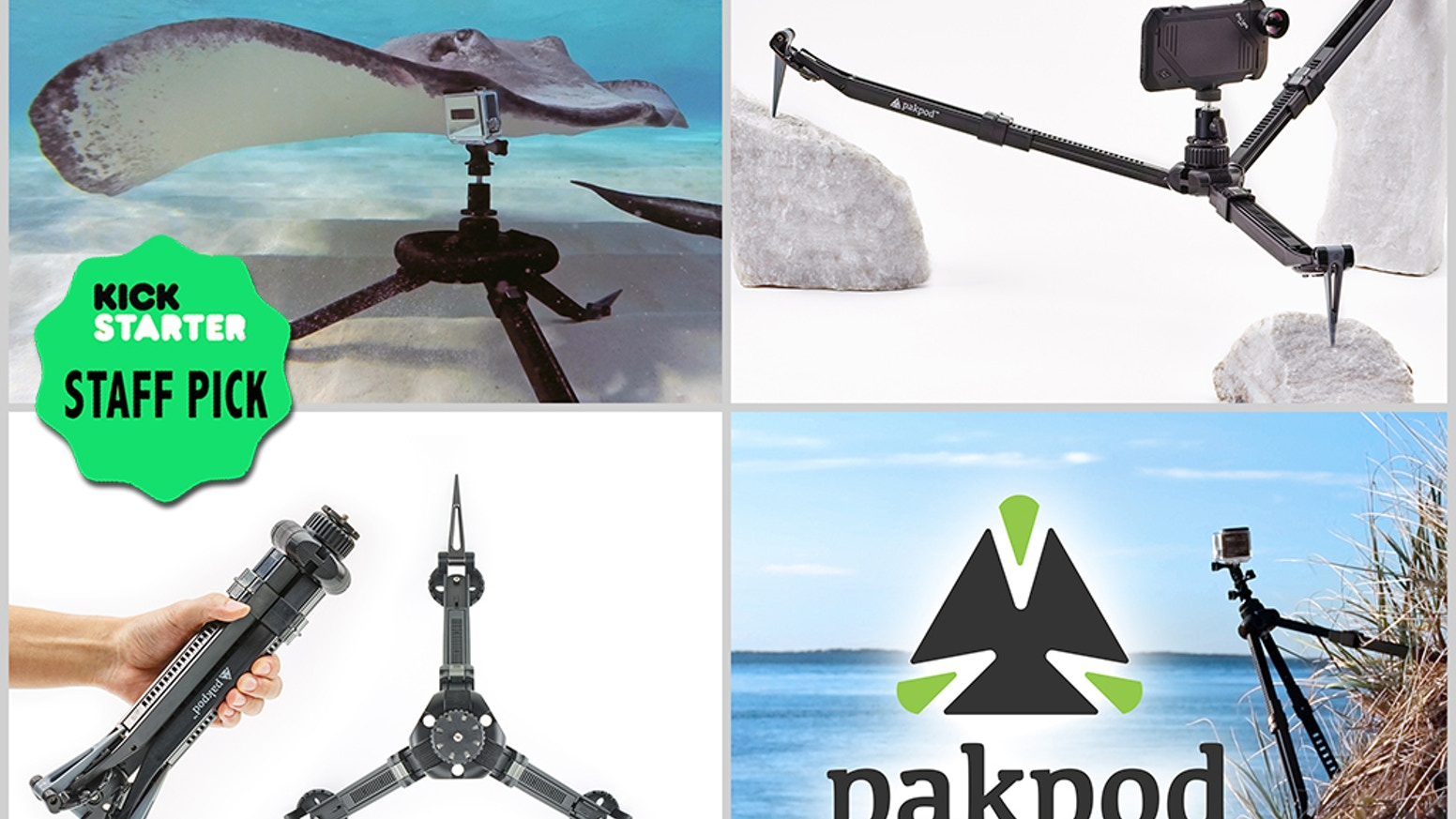Pakpod: The Stake-able, Packable, Riggable, Waterproof, All-Terrain Tripod. Stake Out Your Next Adventure.