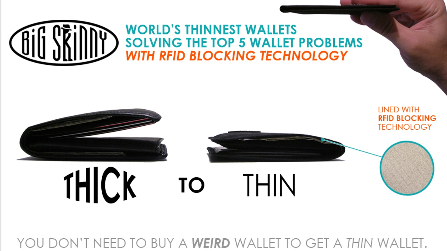 Reduce your wallet size by 50+% with RFID blocking. Solve 5 wallet problems, add functionality w/out losing pockets or features.