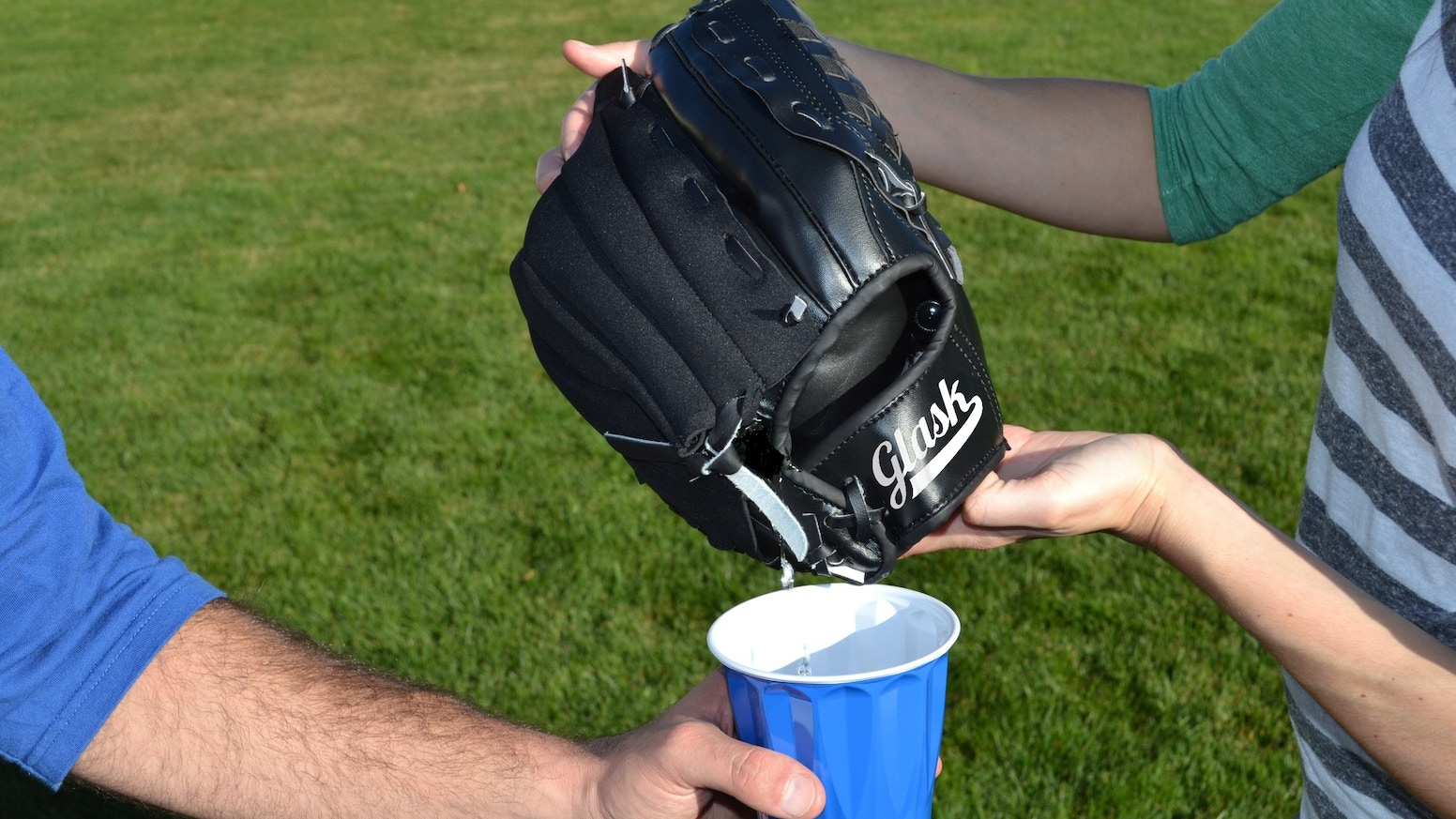 The Glask is a baseball glove with a pouch to hold a custom sized disposable flask with up to 8 oz. of liquid beverage.