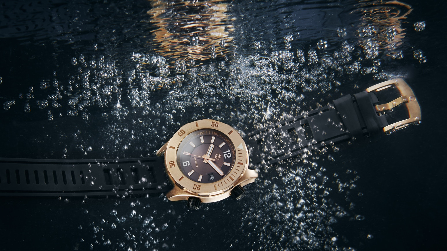 A watch built to withstand 3000m of crushing water resistance and crafted from marine bronze which ages based on your experiences.