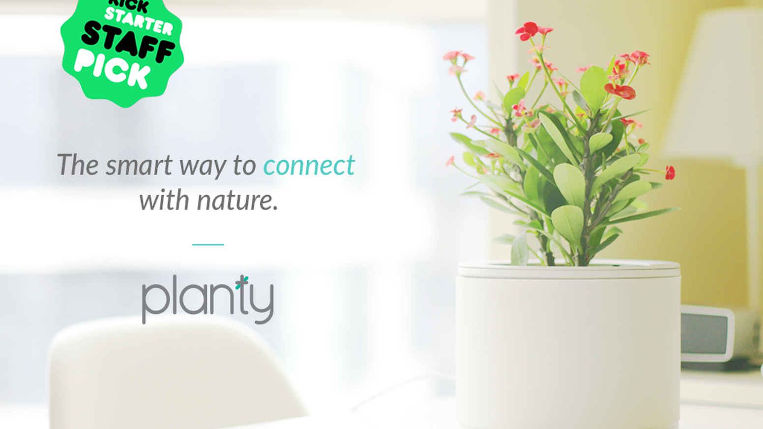 No more dead plants. Planty is an Internet-connected planter that allows you to monitor and water plants on-the-go via the mobile app.