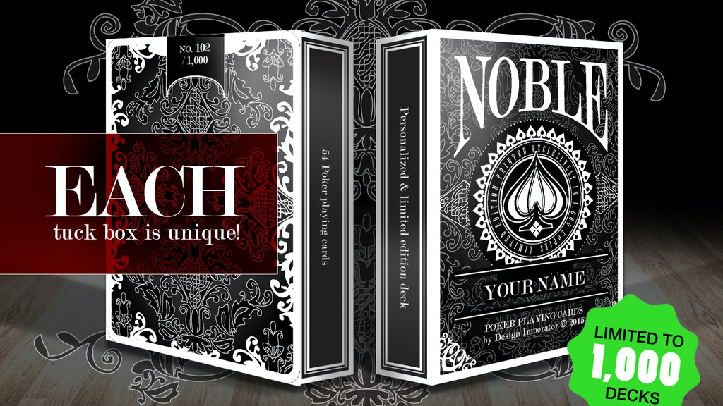 Personalized, numbered, kickstarter exclusive, very limited, poker playing cards with metallic red ink and your name on the tuck box!