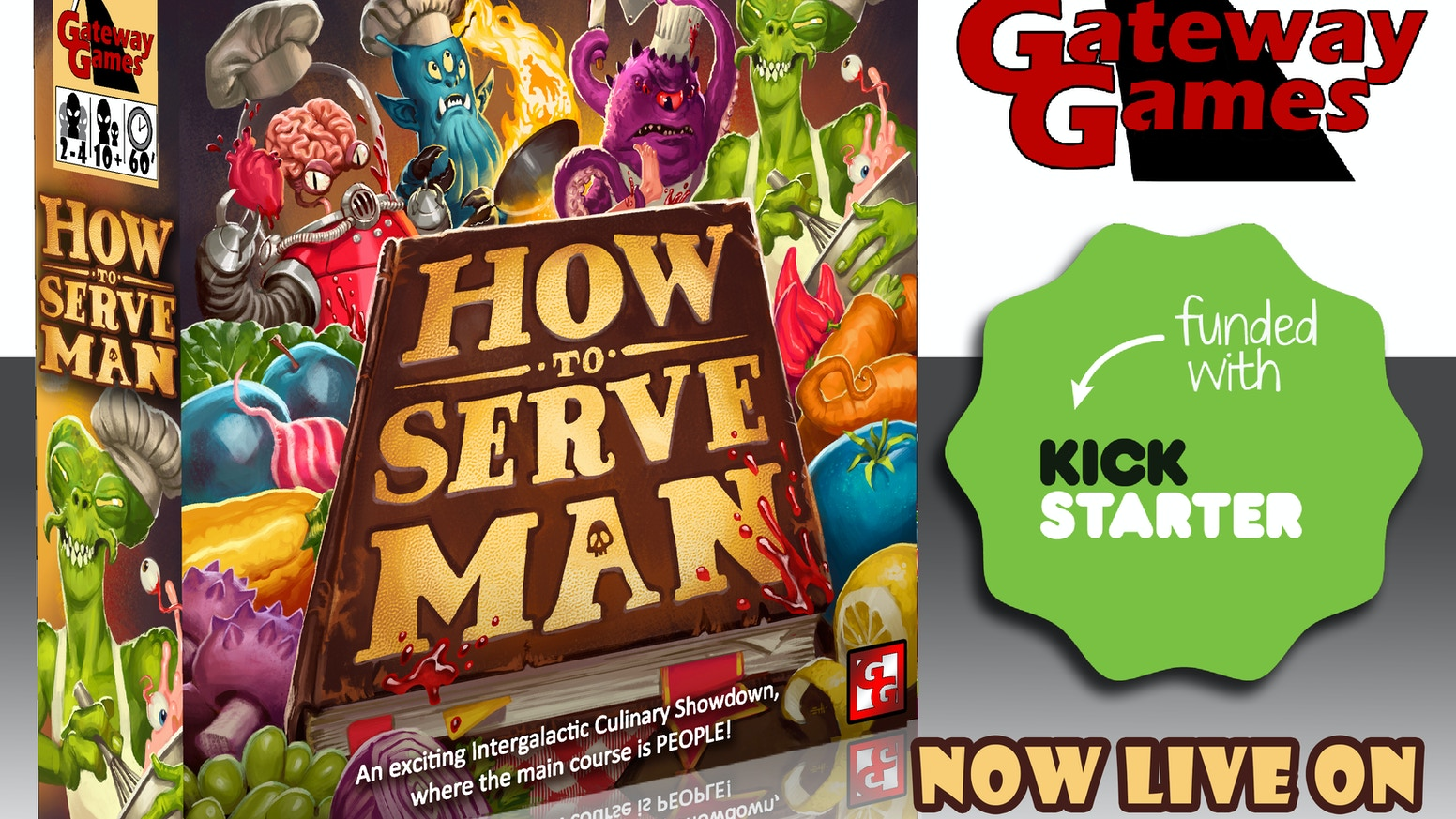 A fast moving board game, where players compete in an alien cooking competition, and the main ingredient is PEOPLE!