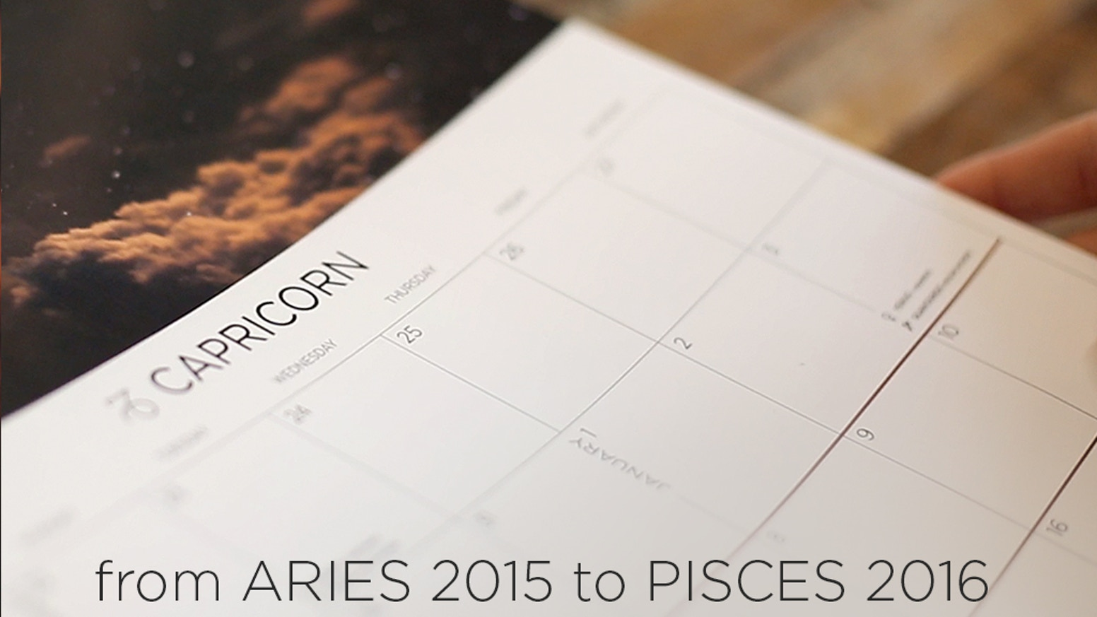 Astrologically set your earthly agenda on a reimagined wall calendar where the months change with the sun's Zodiac movements.