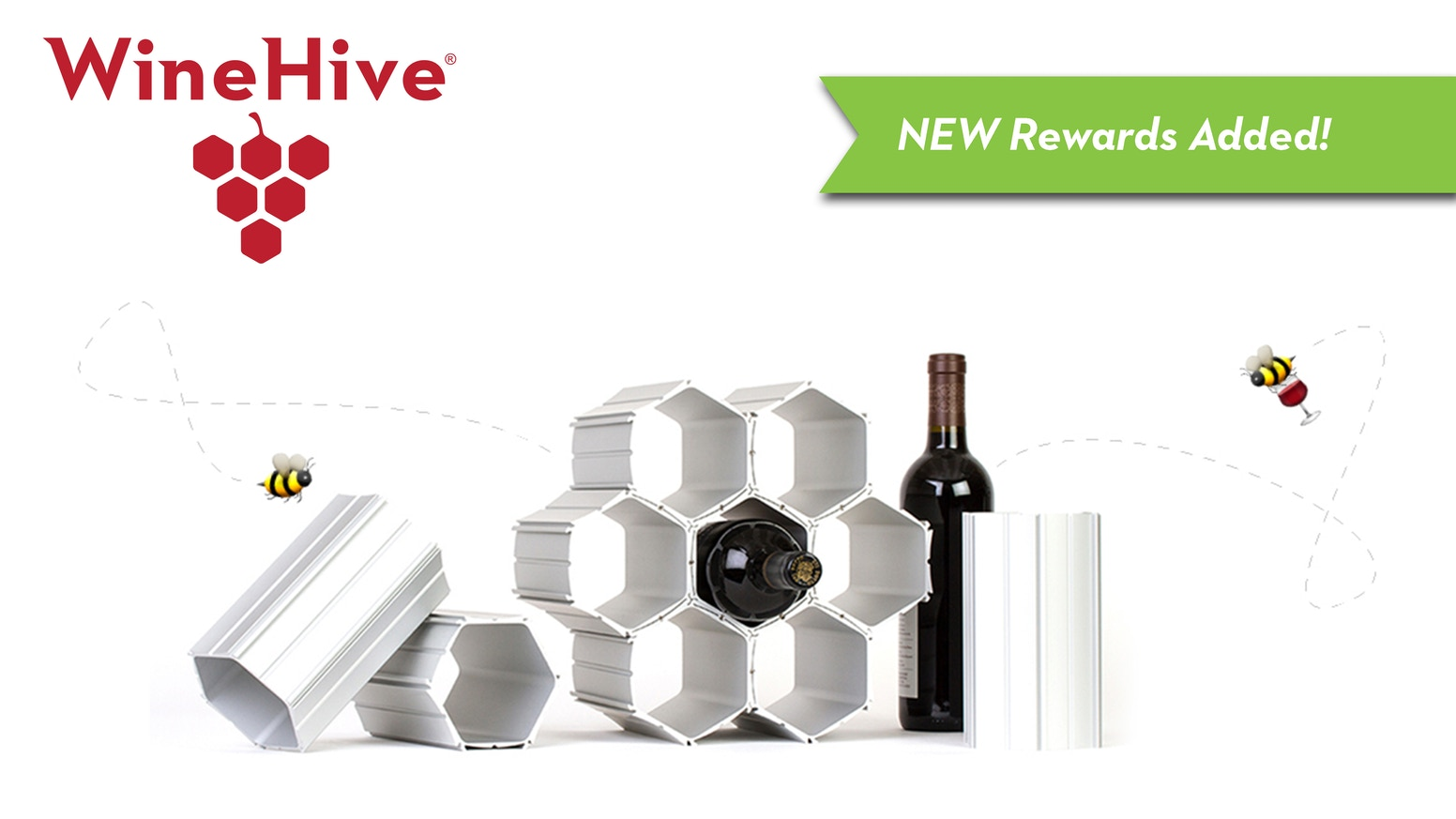 Modular aluminum honeycombs customize to create unique modern wine displays, and expand infinitely as your wine collection grows!