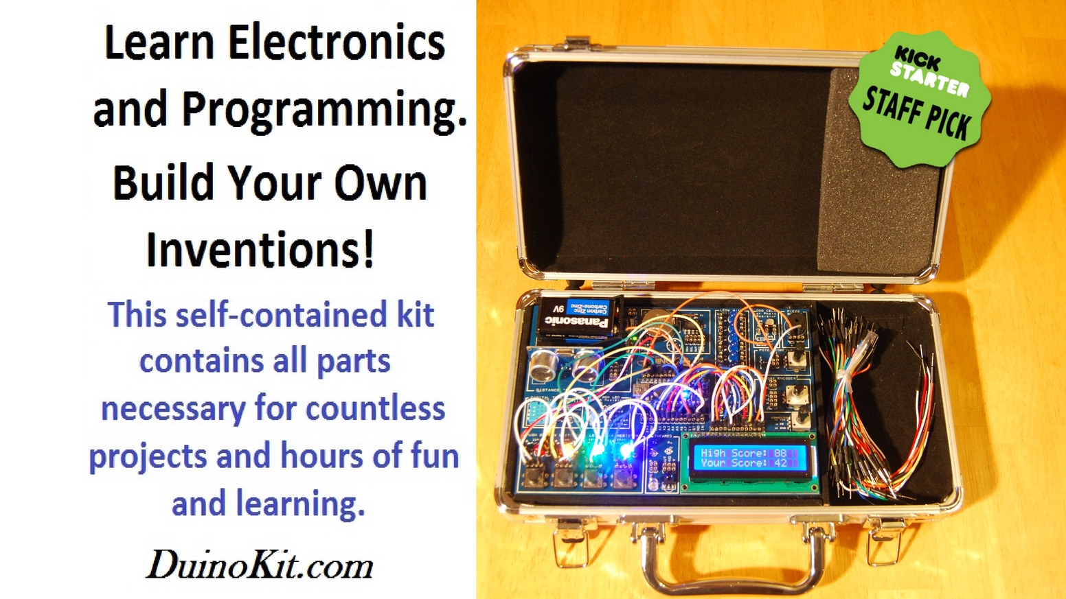 The DuinoKit Jr. is a user-friendly system to learn electronics and programming without soldering or requiring prior experience. www.DuinoKit.com