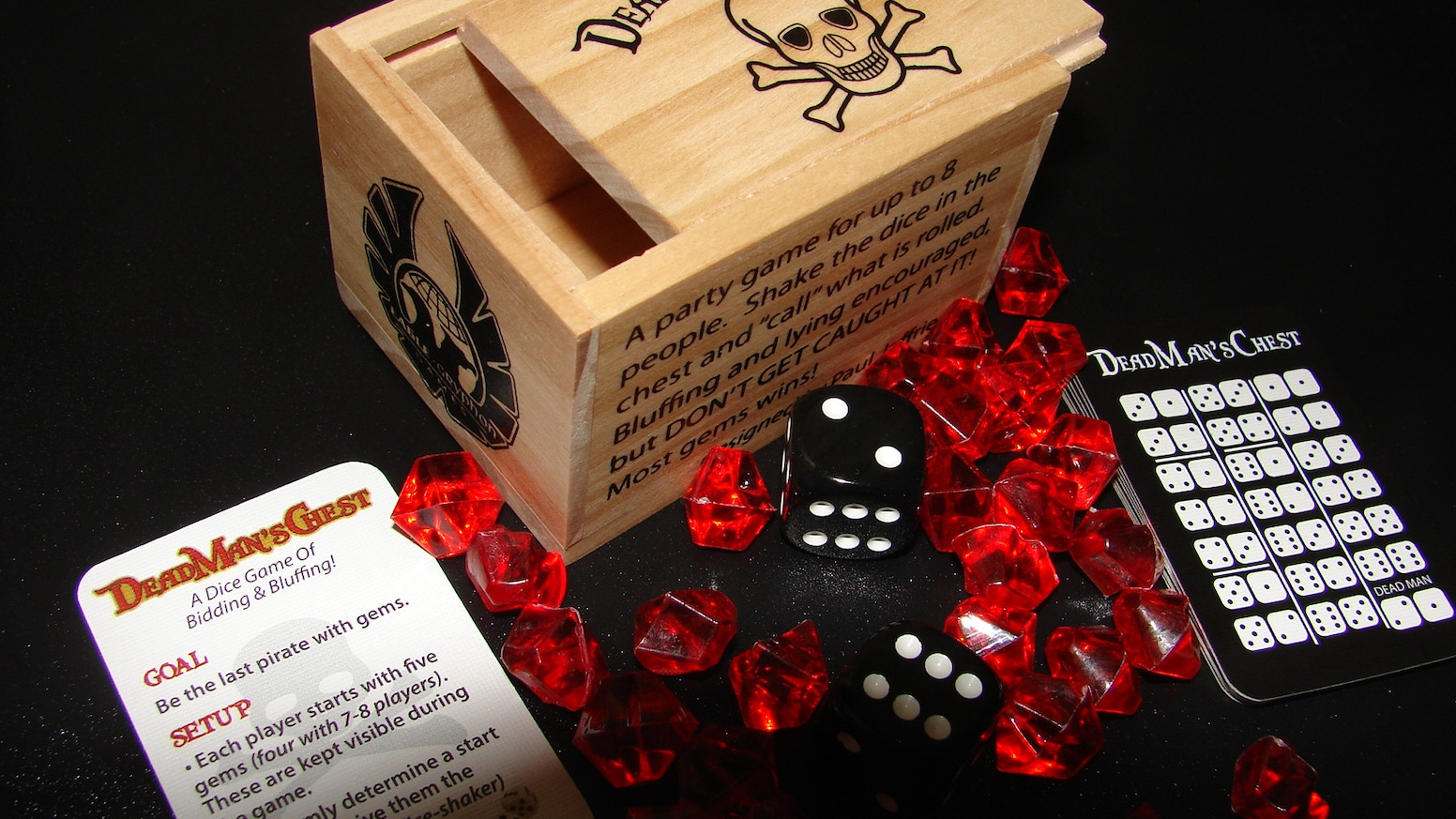 Dead Man's Chest is a dice game of cunning and bluff for 3 to 8 Pirates. Lose a challenge - lose a Gem. Last Pirate standing wins!