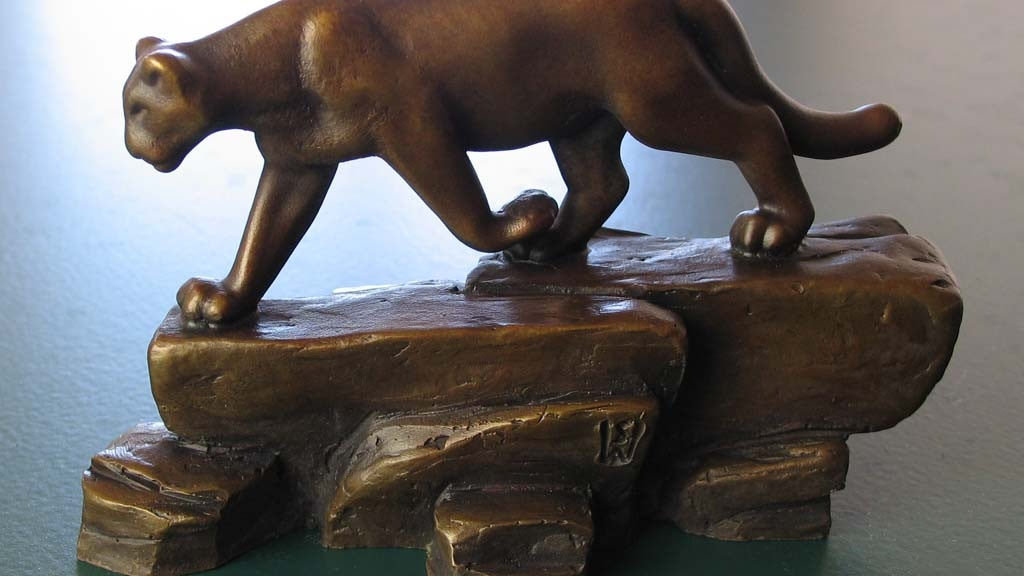 "Bronze cougar sculpture 'On the rocks', 5.5"" long. Big cat. project video thumbnail"