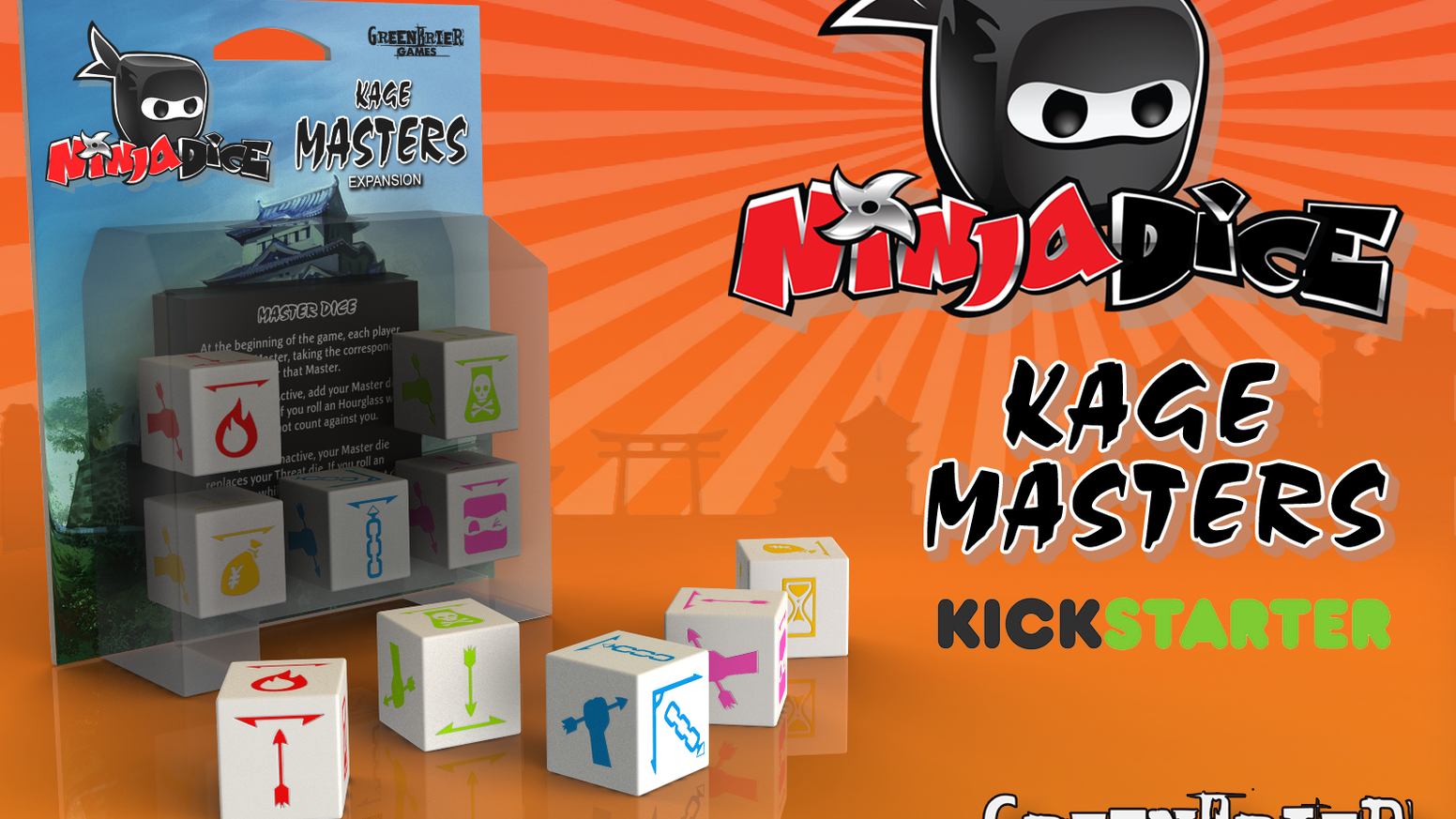 A new expansion that adds playable characters and special abilities to Ninja Dice; a push-your-luck dice game.