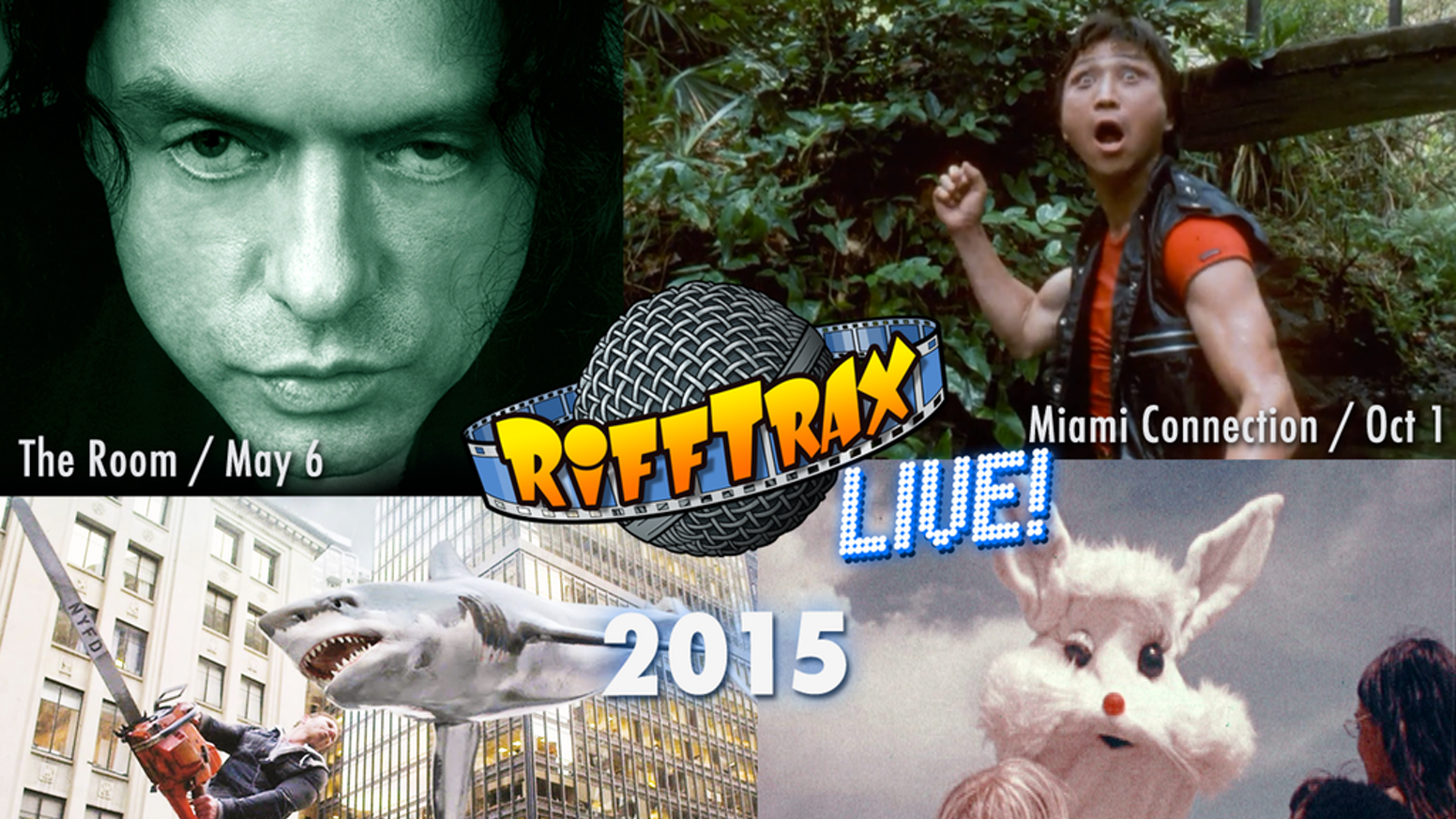 The MST3K guys are roasting THE ROOM, SHARKNADO 2, MIAMI CONNECTION + SANTA & THE ICE CREAM BUNNY for LIVE SHOWS in 700+ Movie Theaters