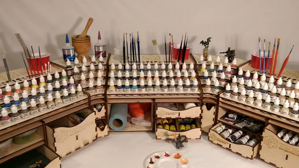 Introducing the TGJ Hobbies modular paint rack system – the complete solution for your painting and crafting workstation needs.