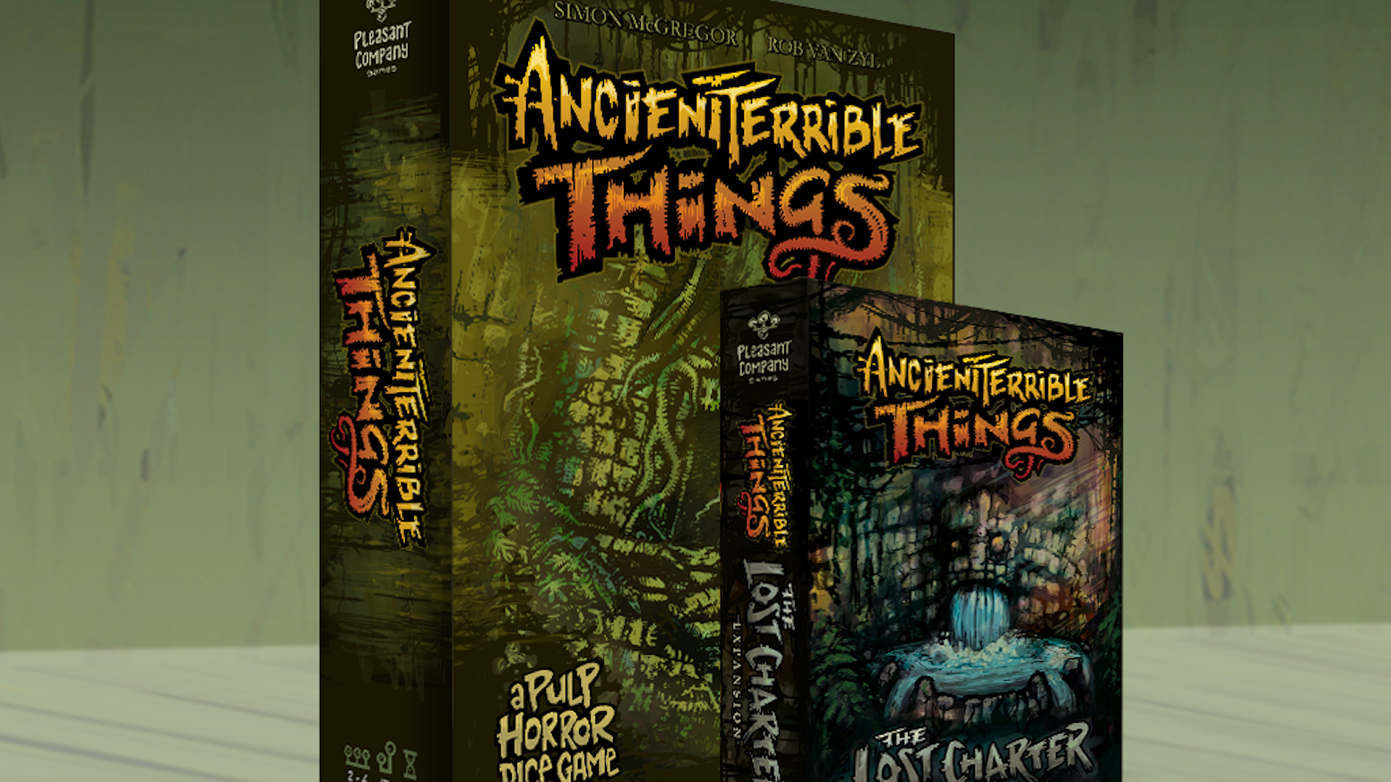 A brand new expansion for the pulp horror dice-chucker, Ancient Terrible Things + 2nd edition of the base game. Something has awoken!