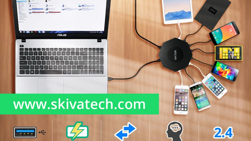 OctoFire 8 Port USB 3.0 Hub with Rapid Charging (96 Watts) project video thumbnail