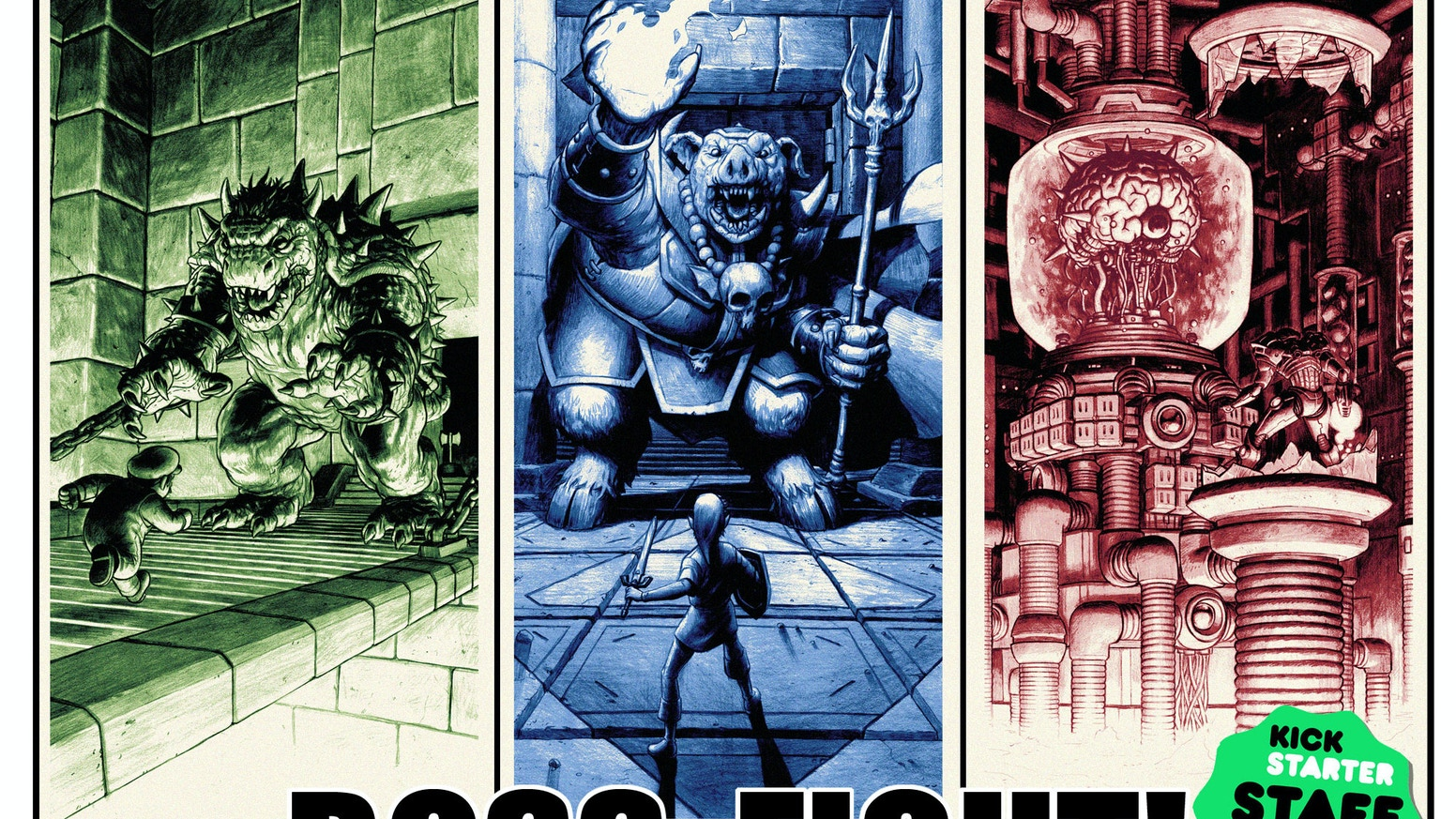 Three screen printed posters celebrating video gaming's greatest Boss Fights!