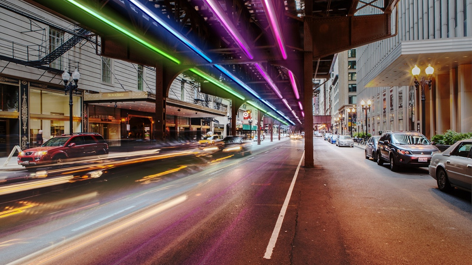 A site-specific light installation created by the public on the Wabash stretch of elevated train tracks (L) in Chicago's loop.