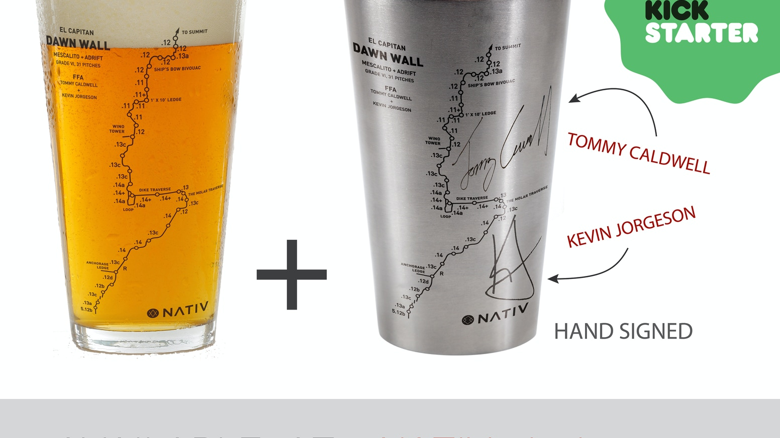 Capture the topo of the infamously difficult Dawn Wall free climb, on a sustainable pint GLASS and stainless steel CUP.