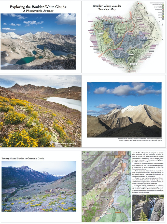 Sample layouts from the custom Exploring the Boulder-White Clouds hardcover photography book