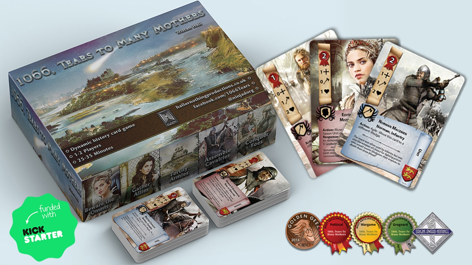 Outwit your enemy & recreate the Battle of Hastings in this multi-award nominated, 1-2 player, 30-40 minute, non-collectable card game.