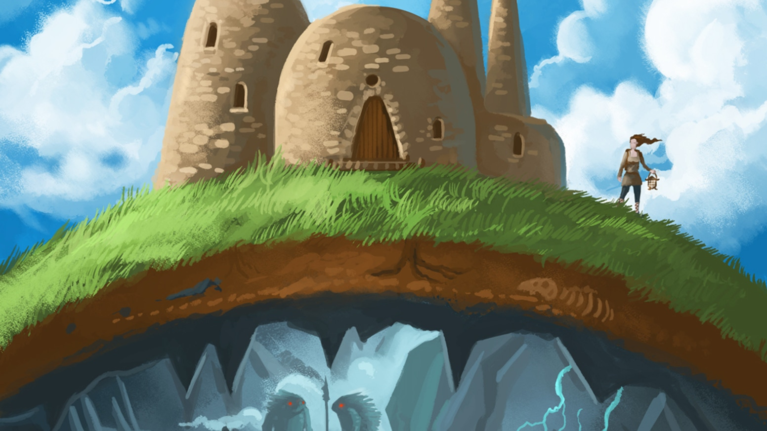 Explore a massive cavern and build your new village above and below ground in this storytelling/town-building mashup board game.