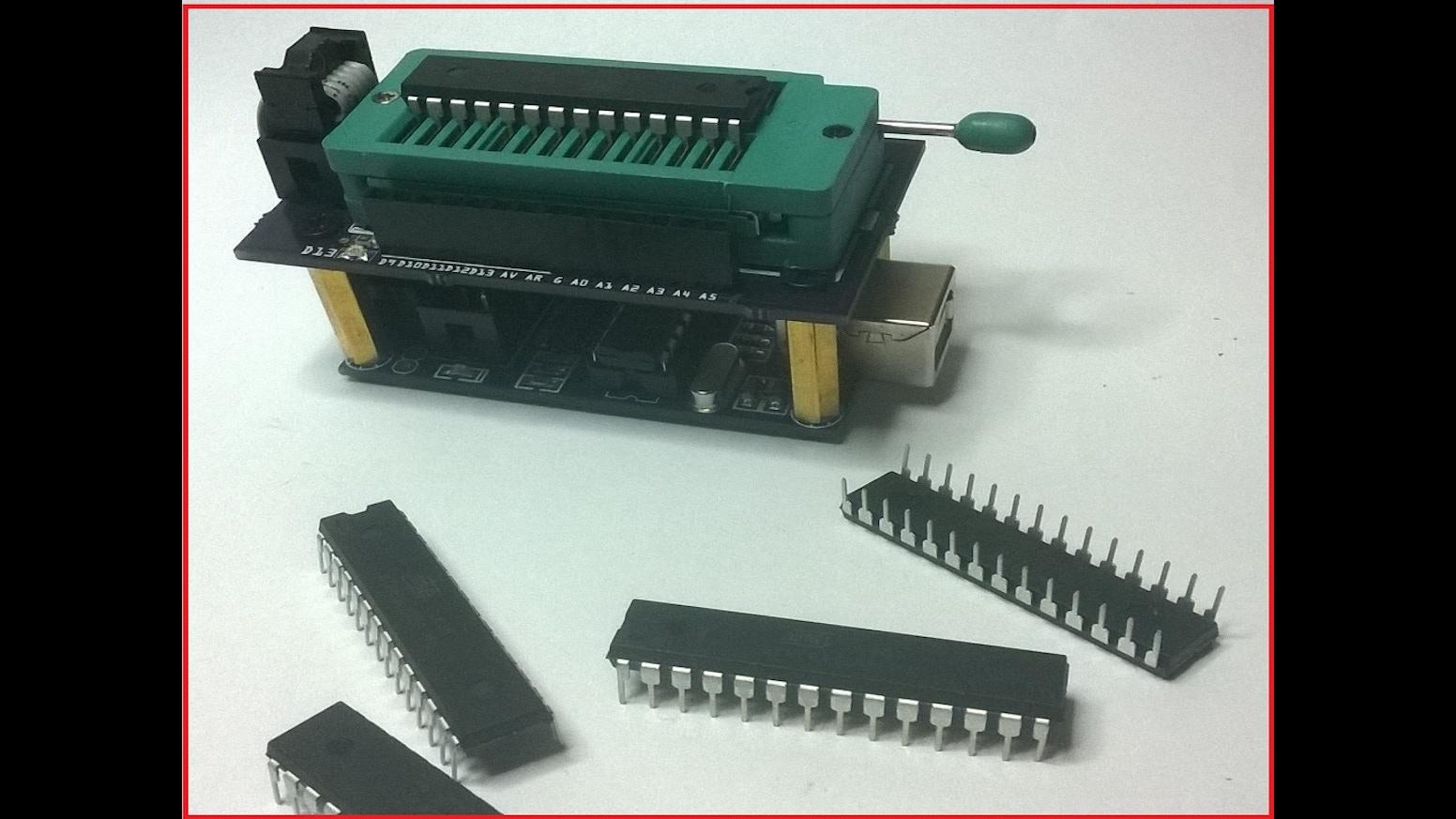 Arduino usbtinyisp bootloader shield atmega p pu by