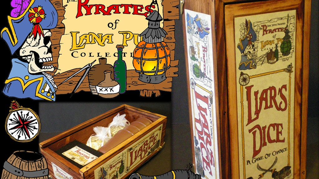 Project image for Handcrafted Pirate Liars Dice Game in Wooden Display Box