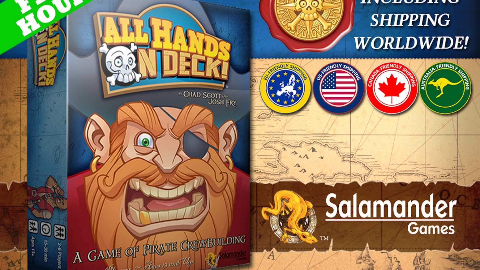 All Hands on Deck! is a pirate themed auction and set collection game that plays in under 30 minutes.  Are you pirate enough?