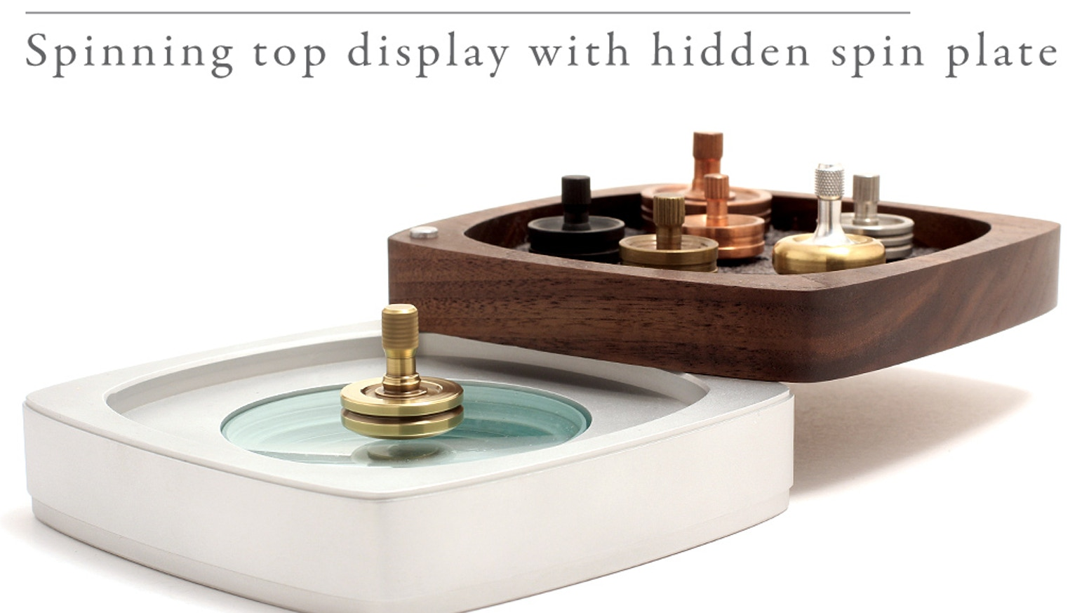 Display your spinning top collection and swing away to reveal the perfect spin plate.