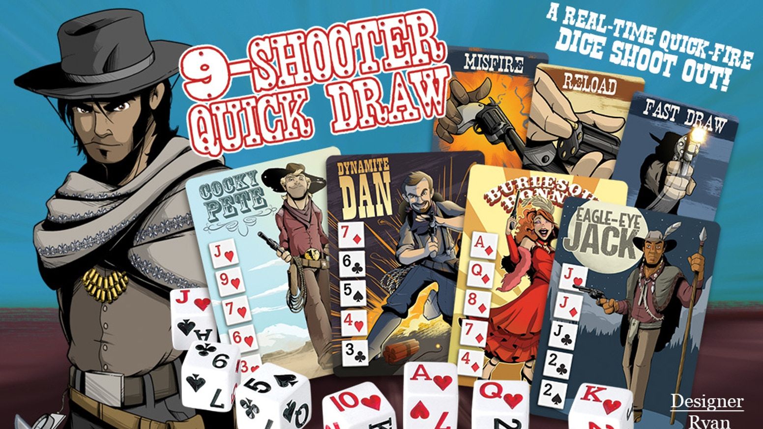 The dust clears, and there, leaner and meaner... stands 9-Shooter Quickdraw! The game of quick draw dice is back in town.