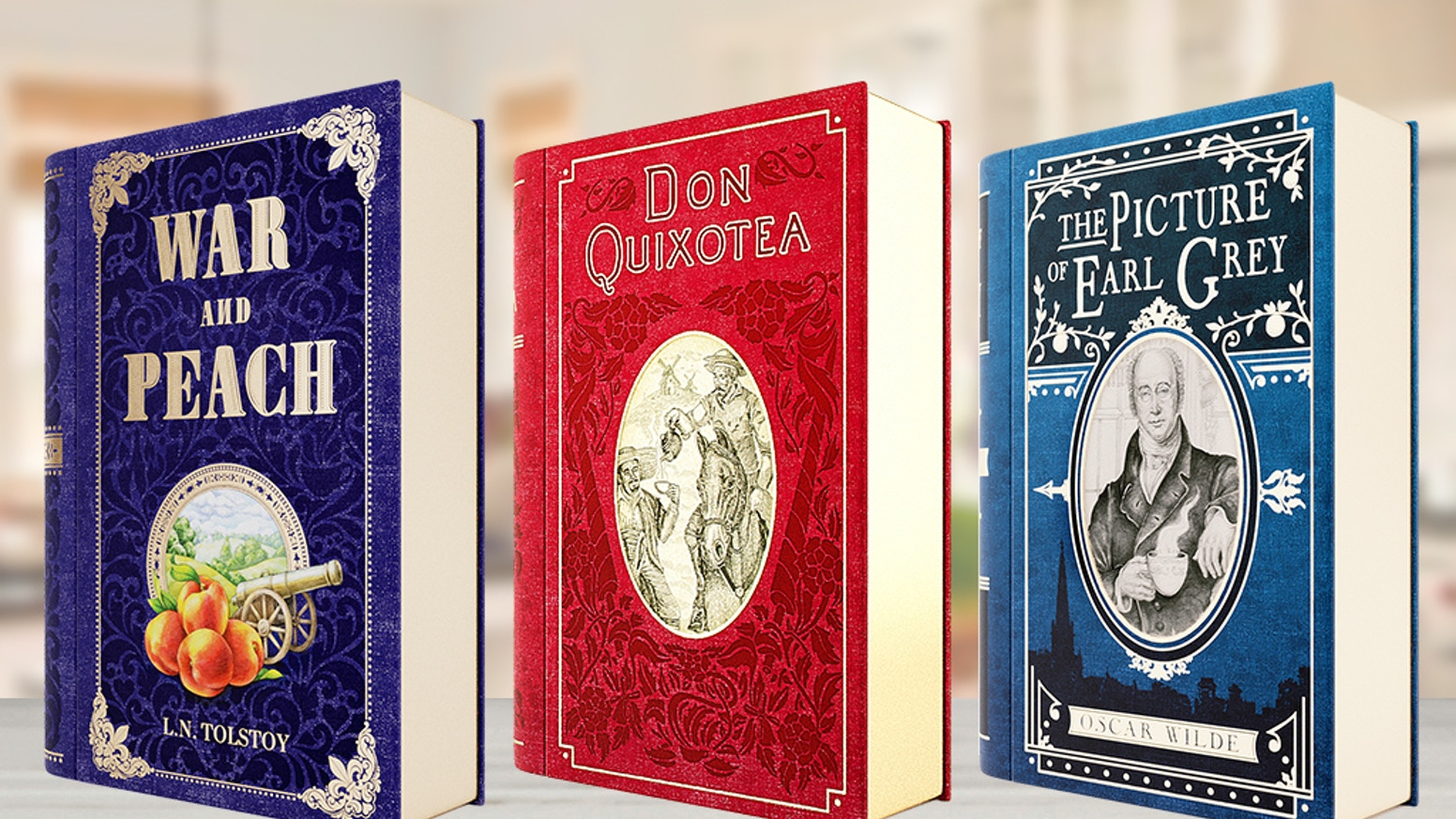 Beautiful tea tins with a novel twist: Don QuixoTea, War and Peach, and Oscar Wilde's The Picture of Earl Grey