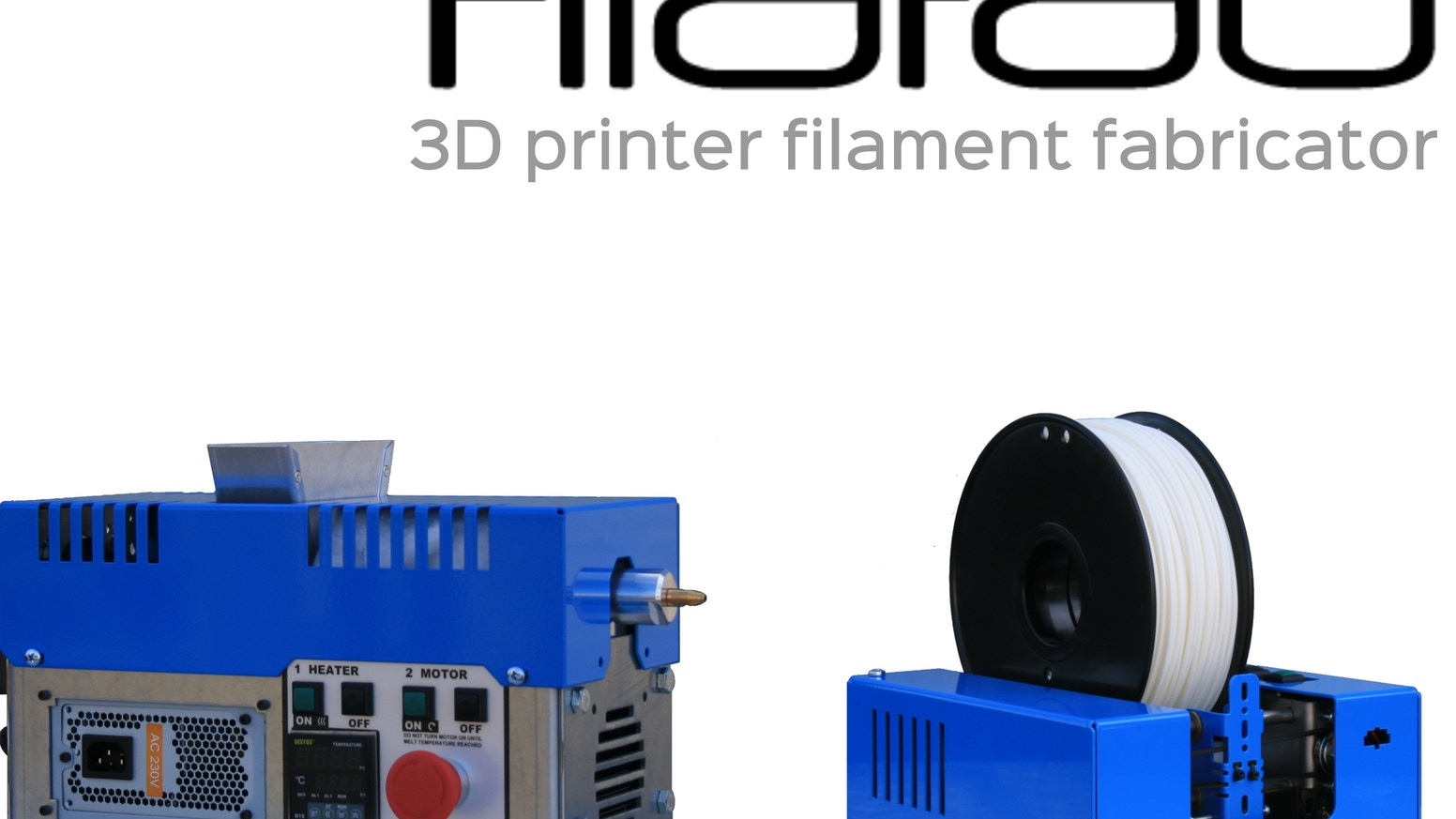 Extrude high quality filament for your 3D printer from pellets or recycled plastic and re-fill used spools automatically.