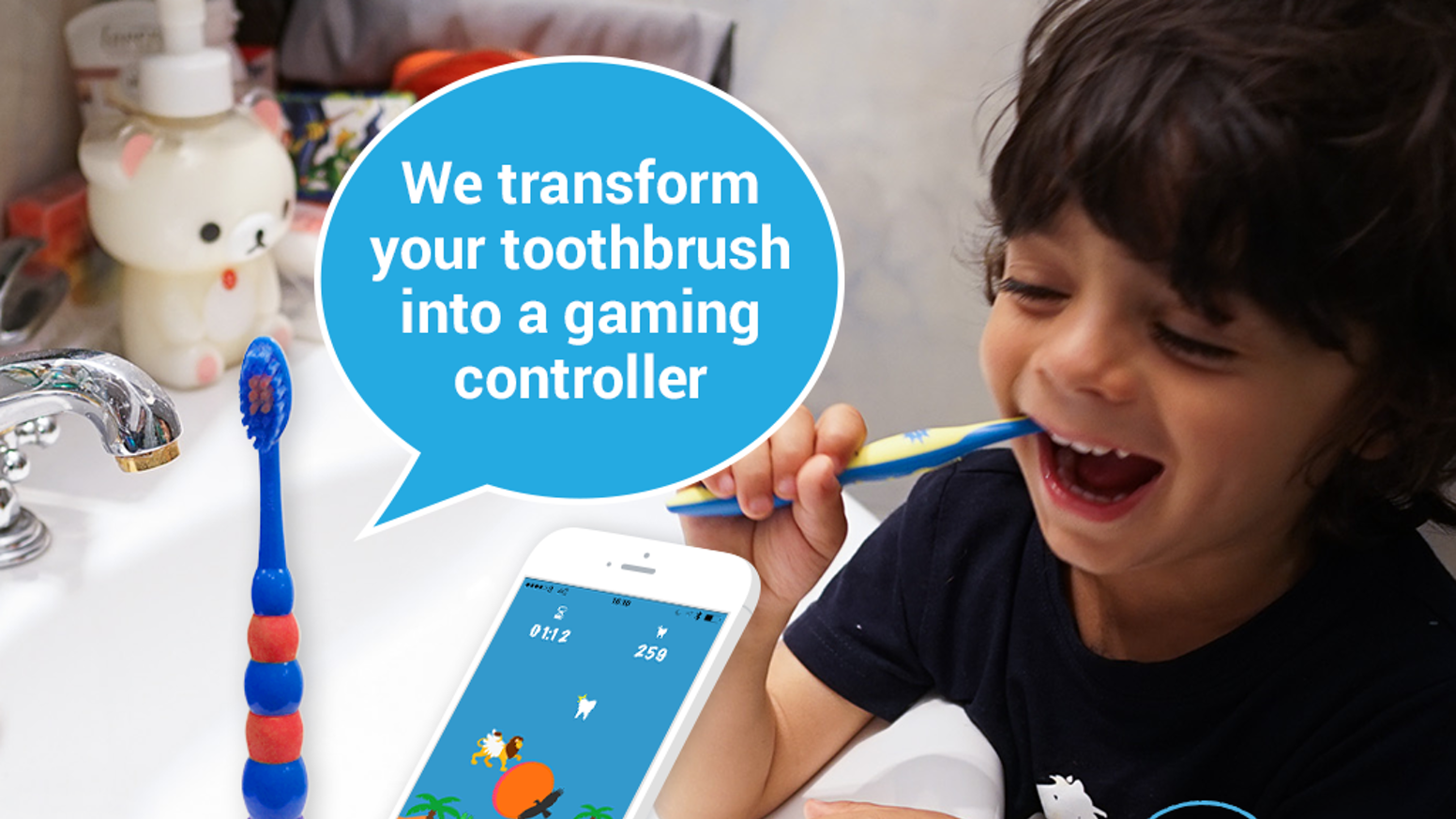 We transform toothbrushes into gaming controllers - so kids and young-at-hearts can play fun & interactive mobile games while brushing.