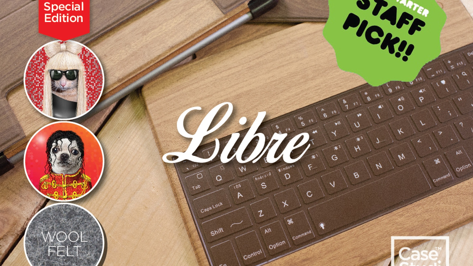 Light, stylish with great feedback, Libre is spill-proof and links up to 3 Bluetooth profiles. Special iPad air keyboard/case available
