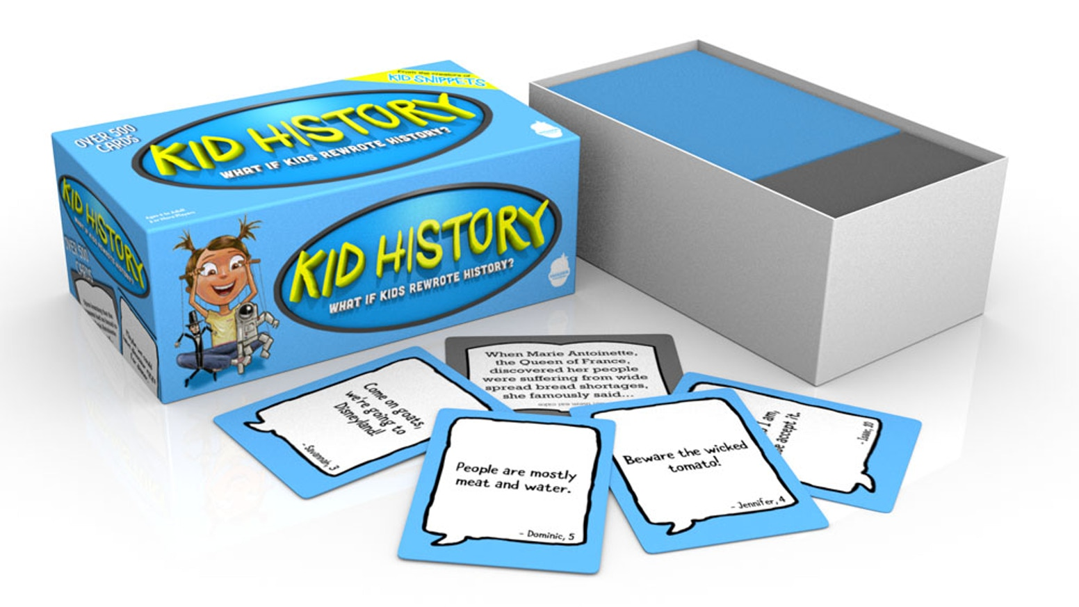 A party game that everyone can enjoy. Your next event will be a hit when the guests rewrite history using cards with quotes from kids.