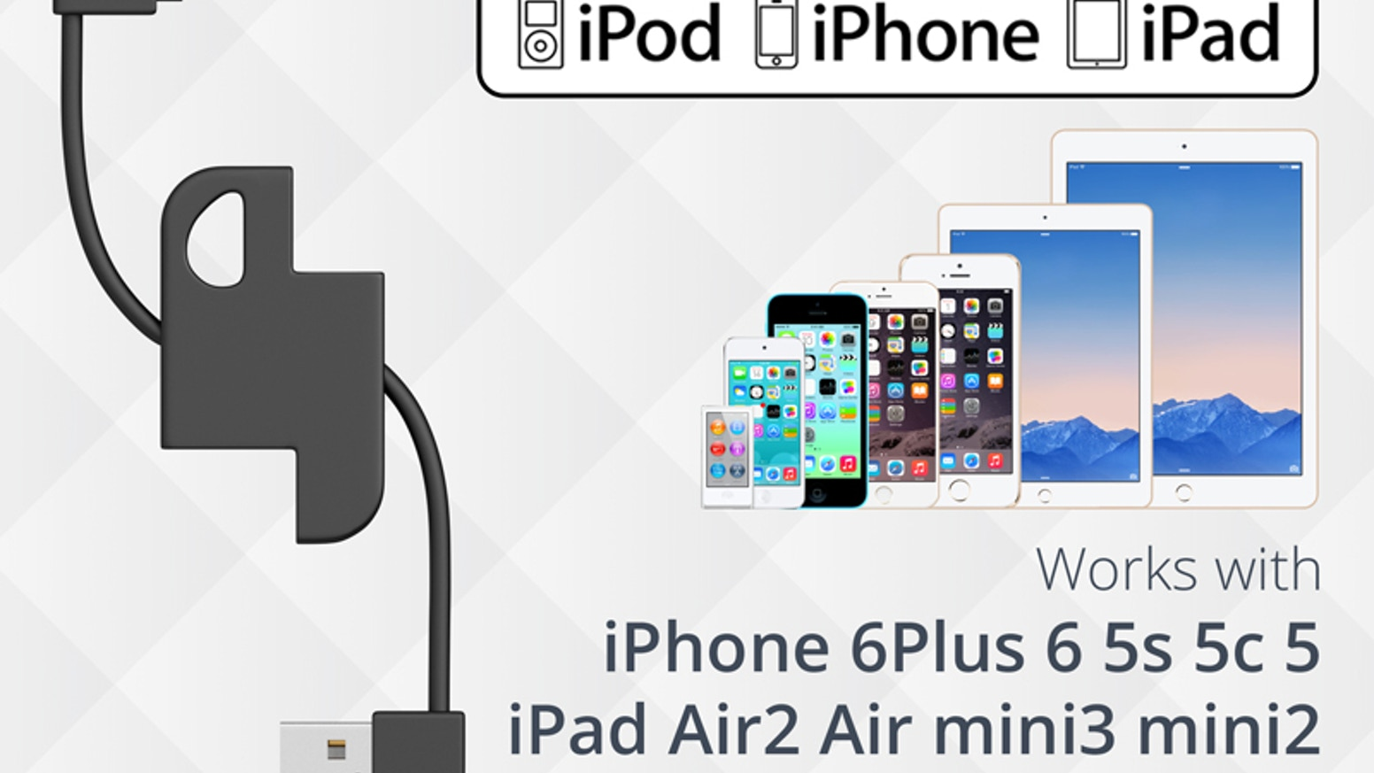 Lightning to USB Sync & Charge keychain cable for iPhone, iPad, iPod and other Lightning port based devices.