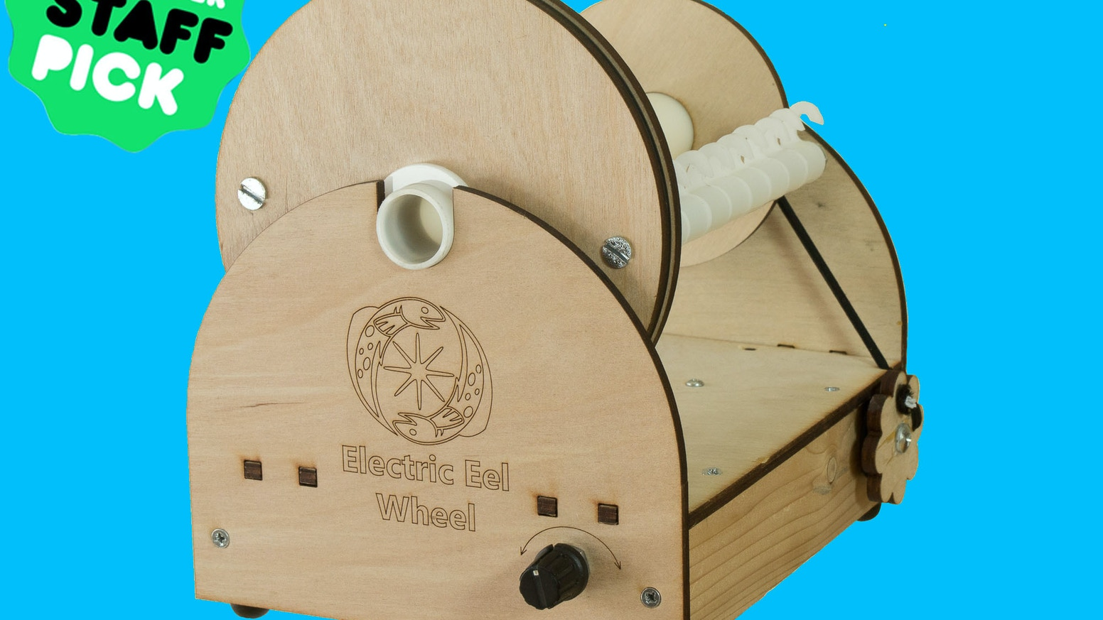 An electric spinning wheel for knitters, crochets, and anyone wanting to make their own yarn.