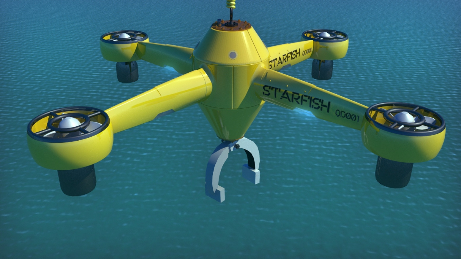 Starfish is an underwater tethered robot DRONE that can search, grapple and retrieve objects from lake, river and ocean floor.