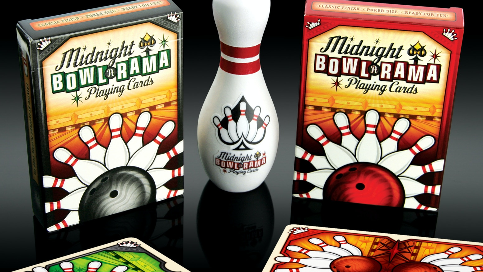 A pair of Bold and Colorful custom Playing Cards with a fun Bowling theme. THERE'S NOT A MOMENT TO SPARE!
