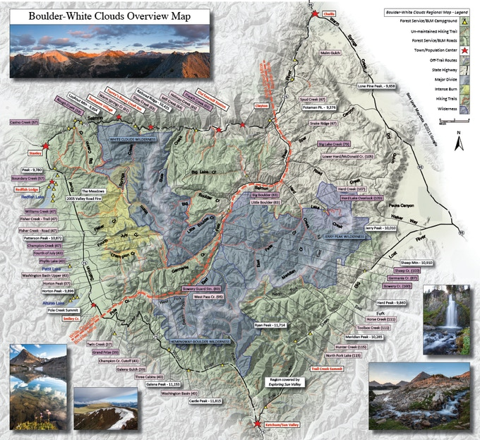 Modified guidebook overview map with additional imagery added.