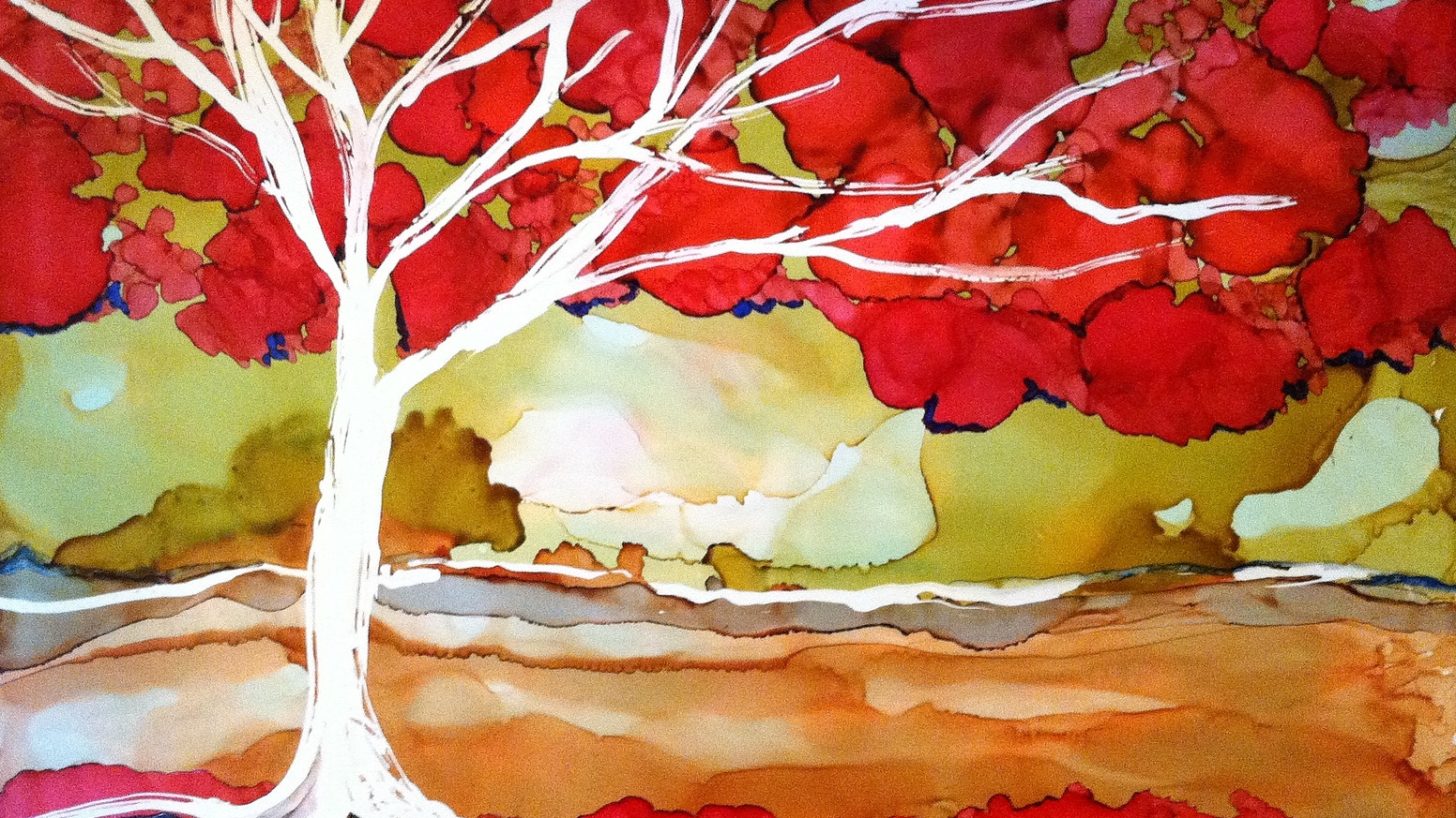 Paintings of brightly colored, abstract trees in alcohol inks for art lovers and tree huggers.