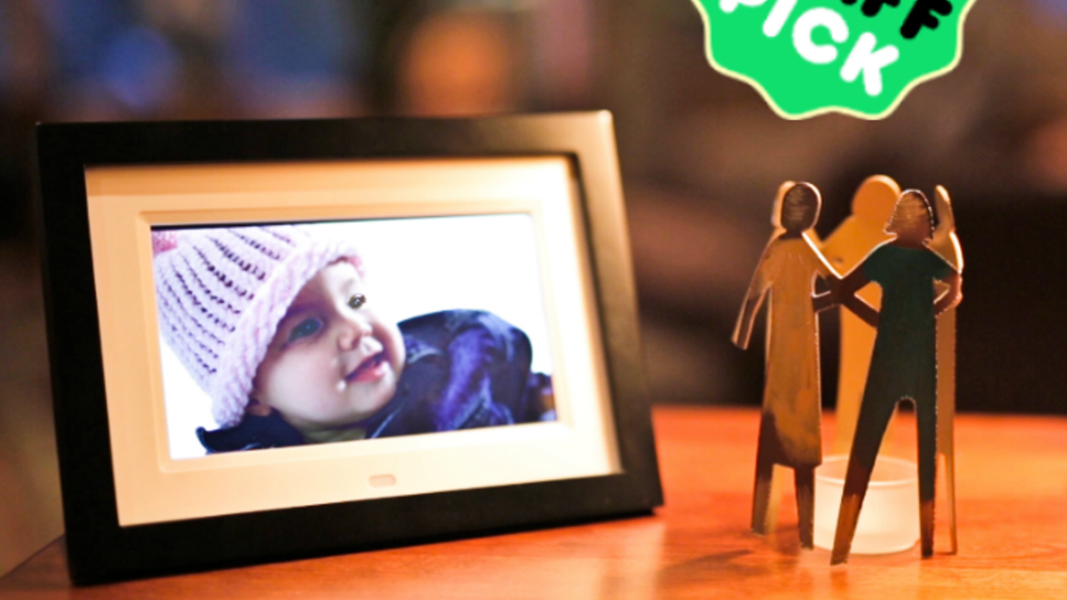 A beautiful touch-screen, Wi-Fi connected digital frame that lets you email photos into your loved one's home in seconds.
