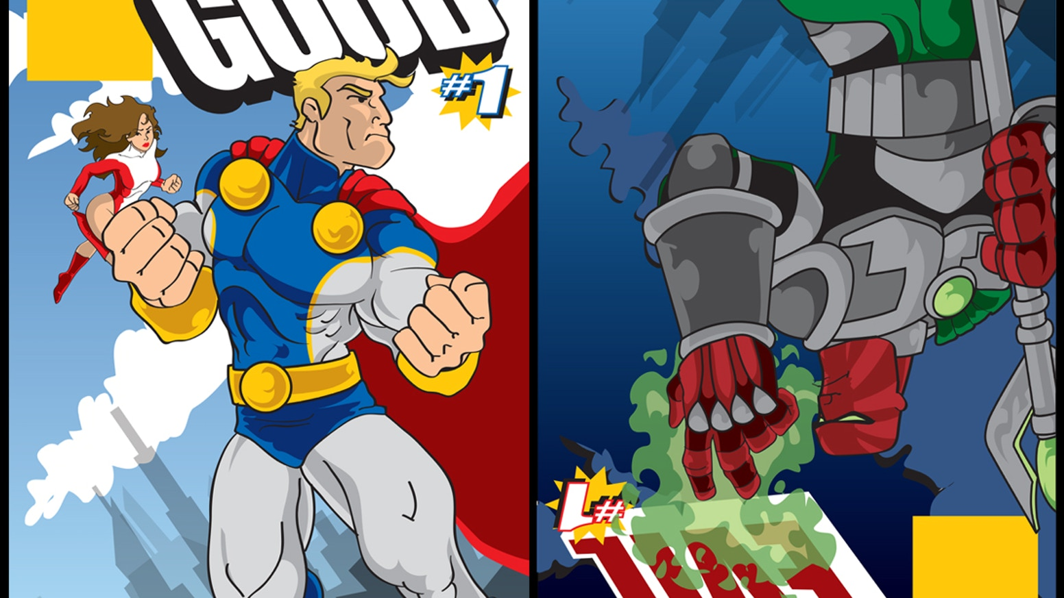 The Side of Good...The Side of Evil - A Superhero/Supervillain Flipbook Anthology. Which side is your allegiance to?
