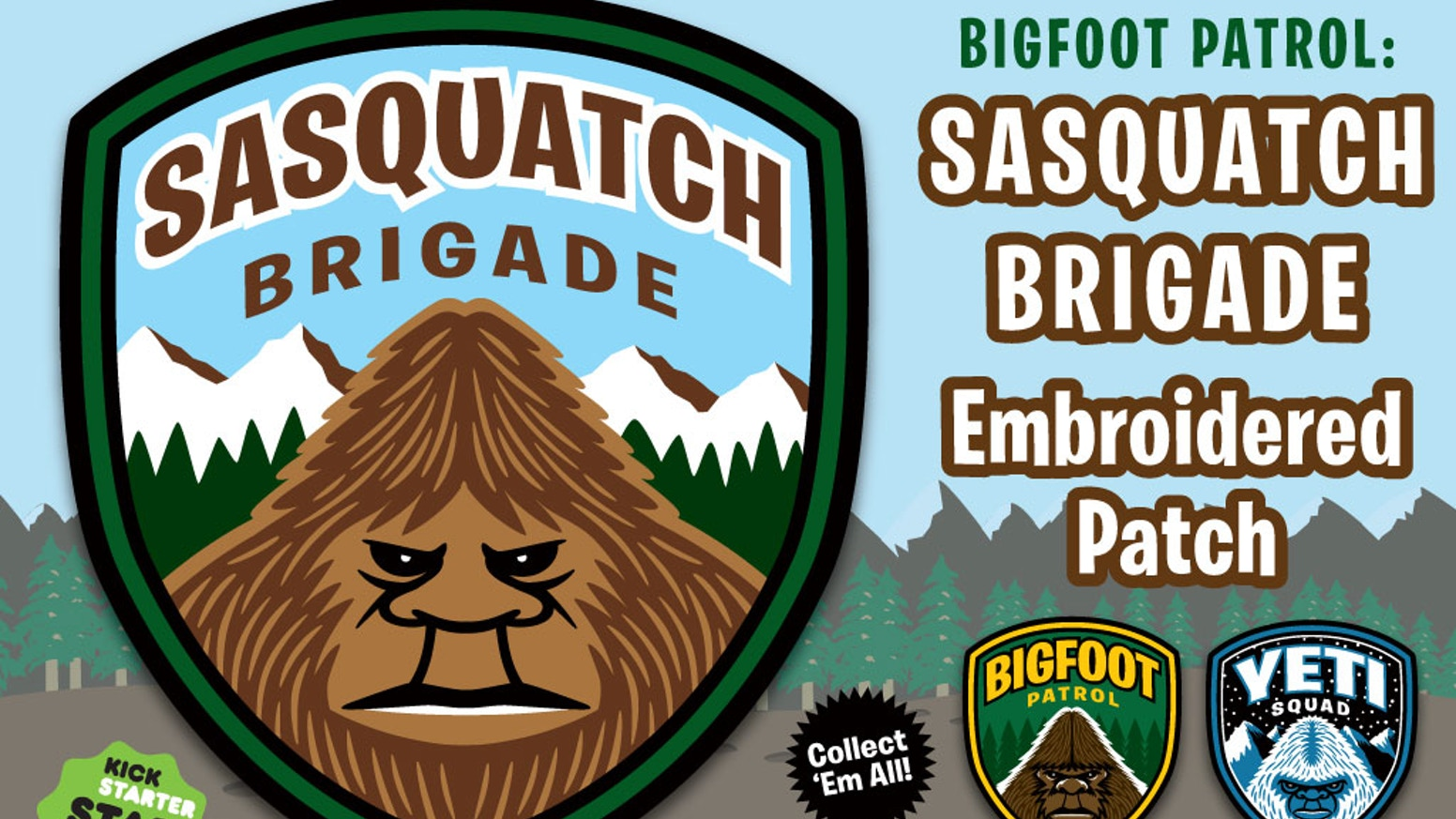 """Sasquatch Brigade"" embroidered patch #3 in Bigfoot/Yeti paranormal/cryptid art merch kit, original art. Velcro! Backpack/EDC ready."