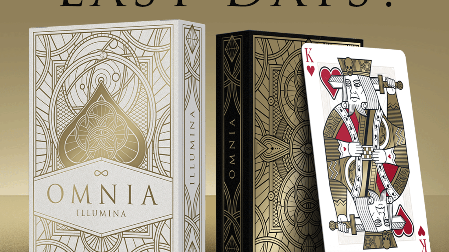 Custom poker size playing cards. Inspired by ancient symbology, drawn with a sharp and modern style. Printed by Expert Playing Card Co.