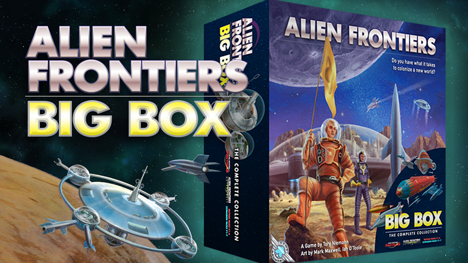 The entire Alien Frontiers universe in one amazing Big Box! Now with options for existing owners of Alien Frontiers!!